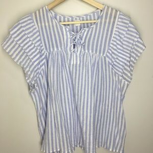 Gap Blue White Top Short Sleeve Blouse Ruffle XL